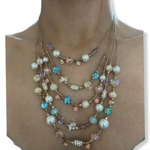 INC Pastel Multicolor Multi Layer Layered Necklace